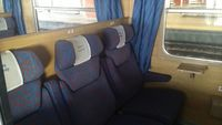Compartiment 1<sup>e</sup> classe dans le train TLK Cracovie ⇄ Varsovie (Pologne)